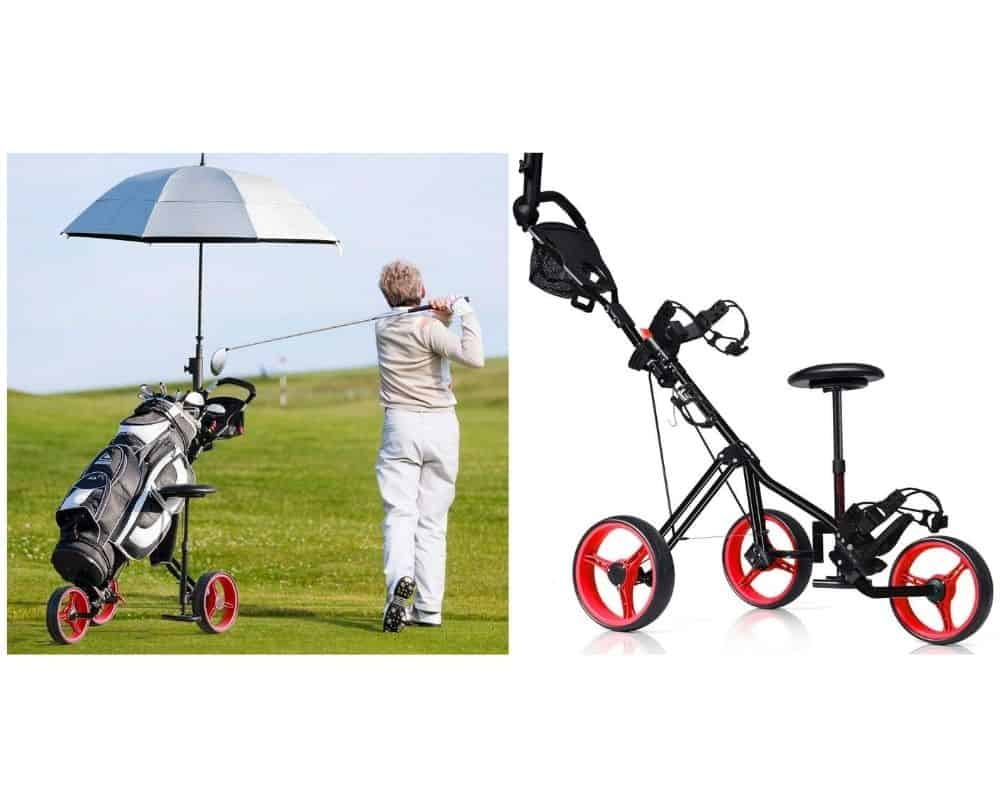 Tangkula Golf Pushcart Swivel Foldable 3 Wheel Push Pull Cart